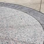 The circle underneath the Jefferson statue at Jefferson Park Transit Center.