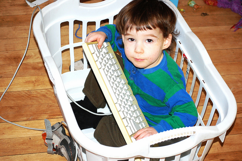 Owen in a laundry basket with a computer keyboard