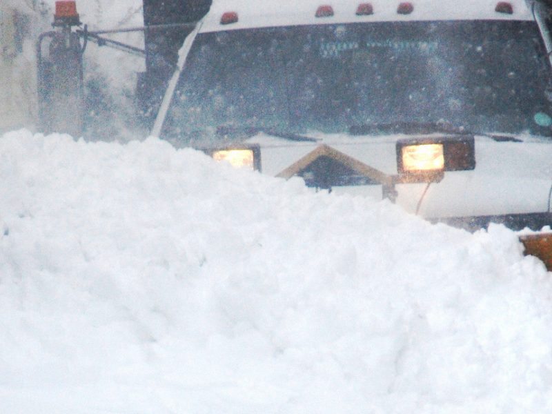 Plow truck in the blizzard