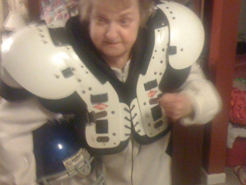 grandma in football gear
