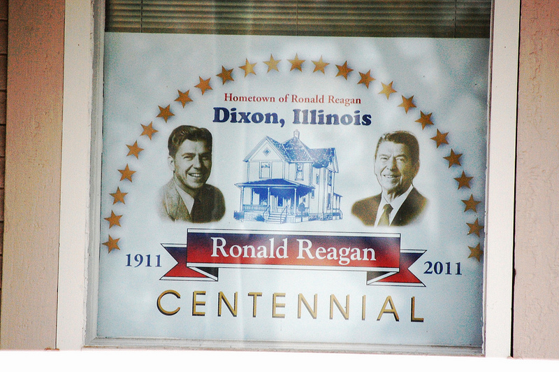 Sign marking Ronald Reagan Centennial