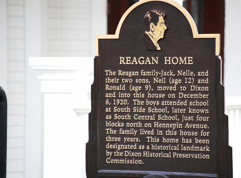 Plaque outside Reagan Boyhood Home in Dixon, Illinois
