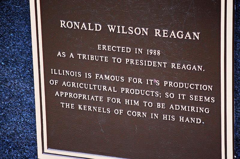 Plaque on Ronald Reagan statue outside Reagan Boyhood Home in Dixon, Illinois.