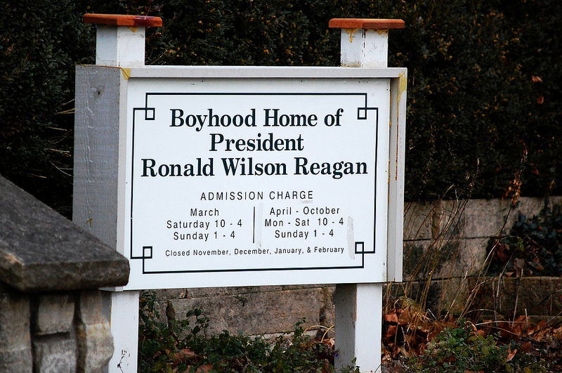Sign in front of Reagan Boyhood Home in Dixon, Illinois