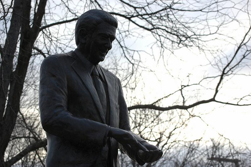 Ronald Reagan statue outside Reagan Boyhood Home in Dixon, Illinois.