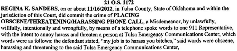 "Criminal complaint says woman told 911 operators ""My job is to harass you b____es"""