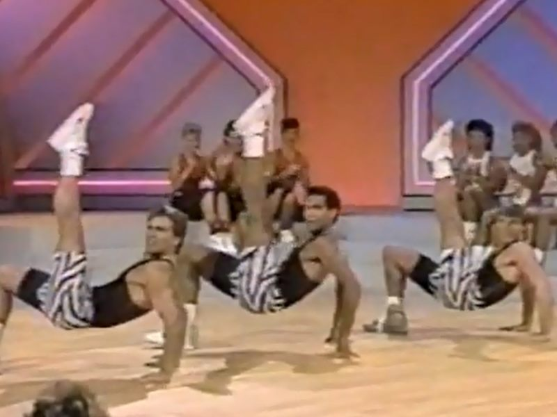 Three aerobic dudes in Zubaz
