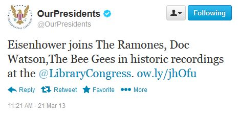 """""""Eisenhower joins The Ramones, Doc Watson,The Bee Gees in historic recordings at the @LibraryCongress. """""""