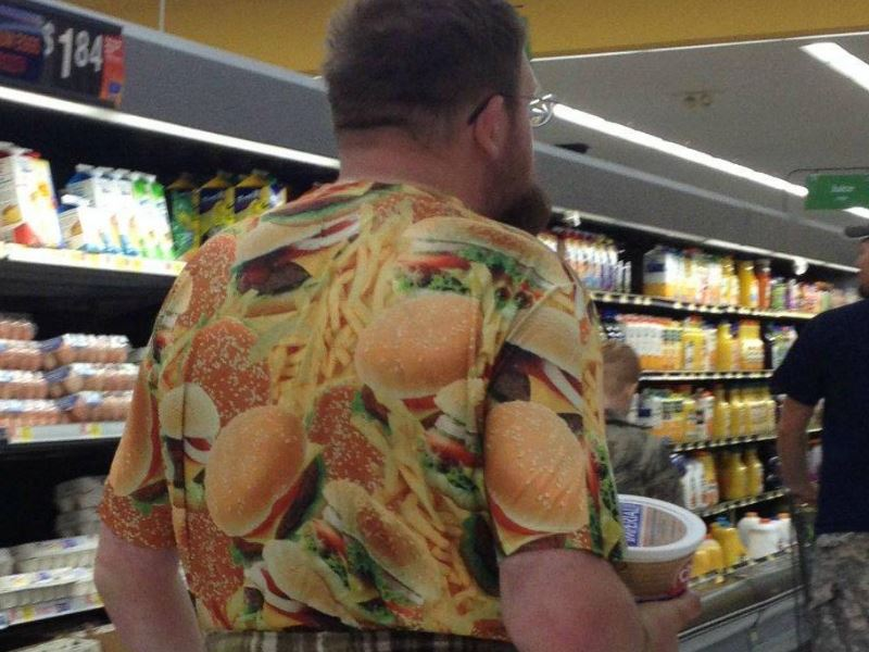 Guy in a shirt with a burger pattern