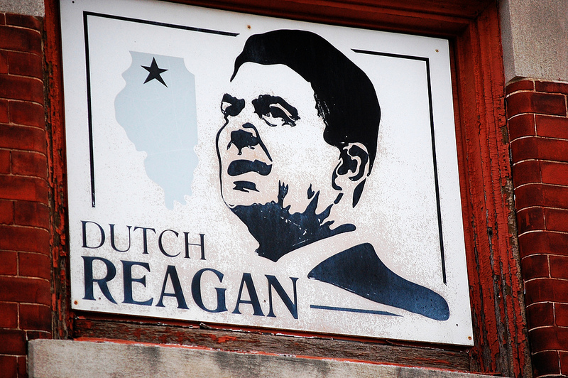 "A sign commemorates Ronald ""Dutch"" Reagan in downtown Dixon, Illinois."