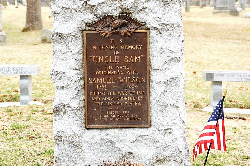 """grave of Samuel Wilson, aka """"Uncle Sam."""""""