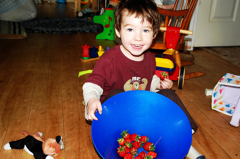Owen and his strawberries