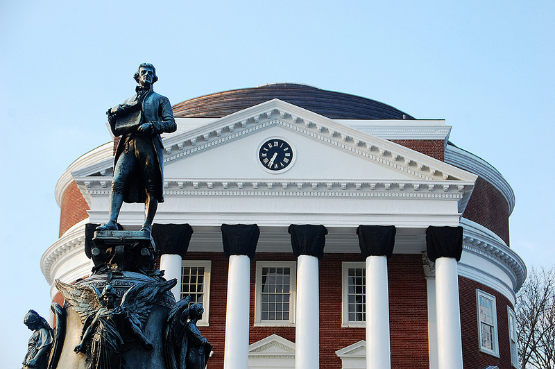 Jefferson statue outside the University of Virginia Rotunda