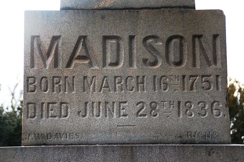 Close-up of James Madison's grave marker.