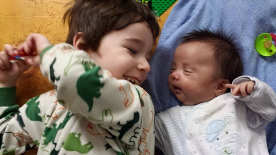 Owen and Wyatt are happy brothers.