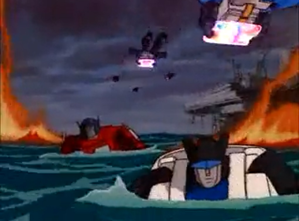 Autobots floating in the water