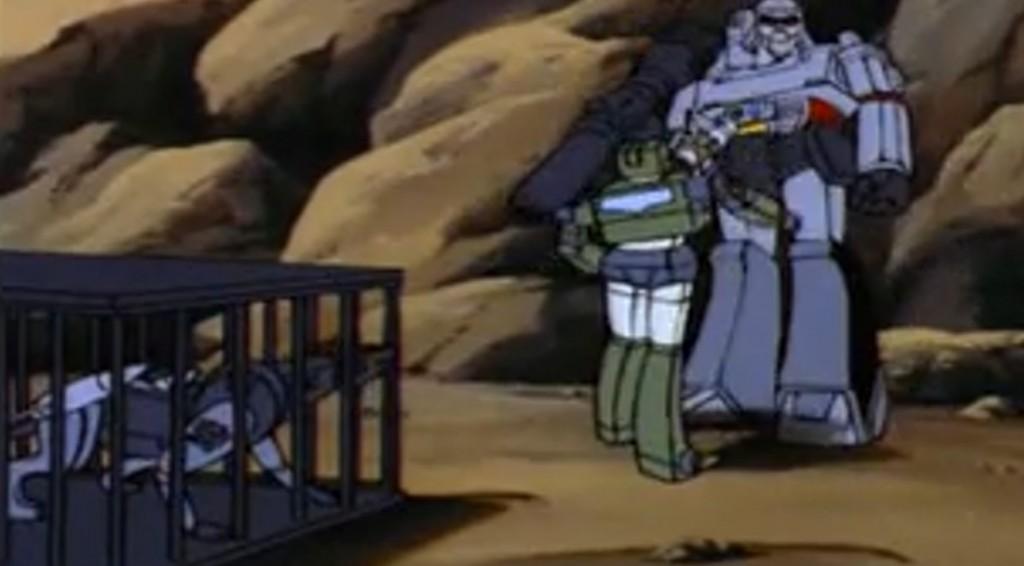 Hound makes a hologram of Megatron