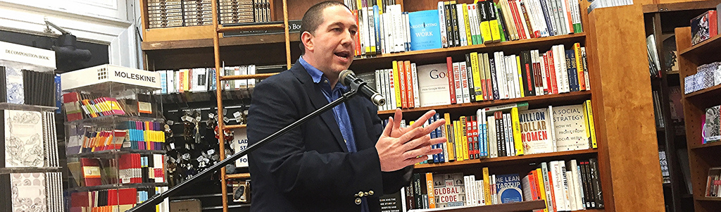 Brady speaking at Harvard Book Store in Cambridge, Mass.