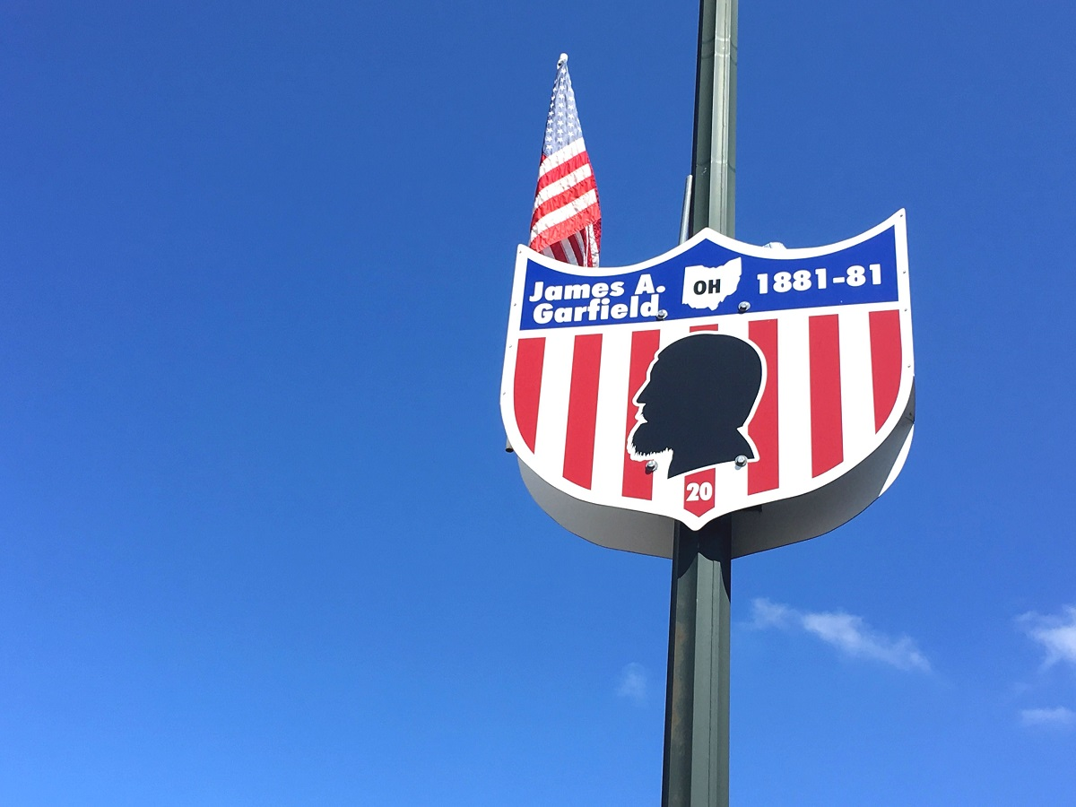 Cuba City street sign and silhouette for James A Garfield