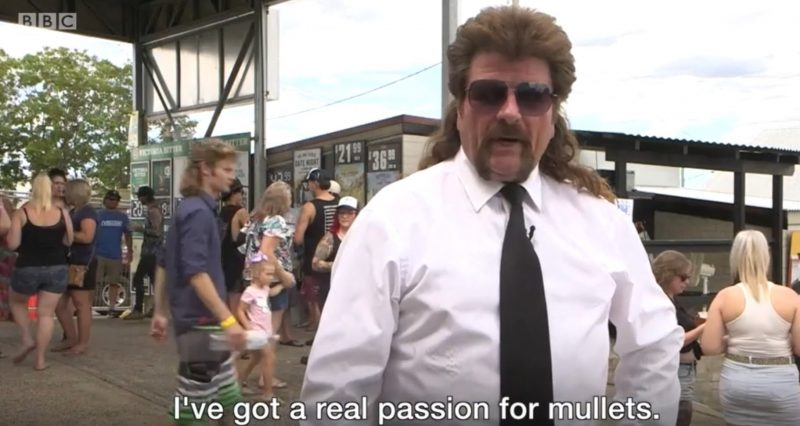 "Man with giant mullet says ""I've got a real passion for mullets."""