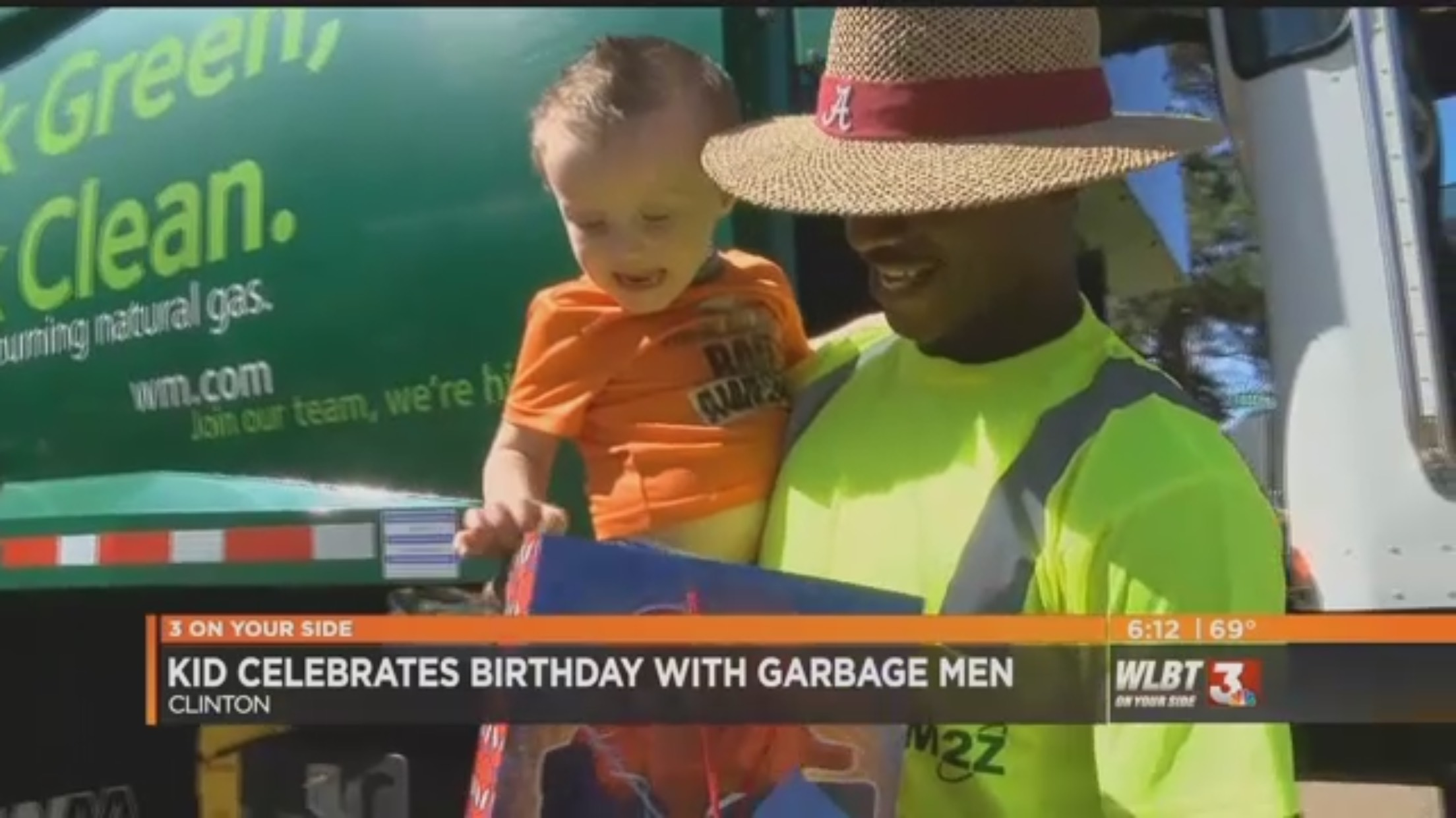 "Chyron: ""Kid Celebrates Birthday With Garbage Men"""