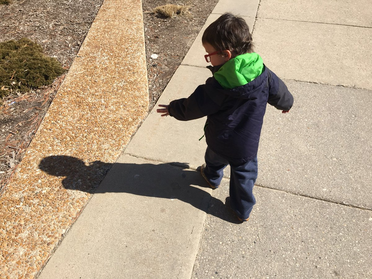 Wyatt waves to his shadow