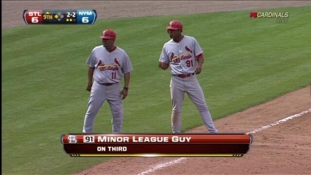 """Chyron says """"Minor League Guy: On Third"""""""