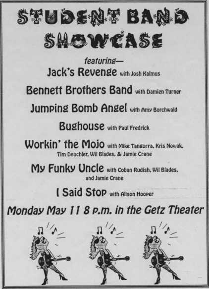 """A flyer for the band showcase. Note Jumping Bomb Angel """"with Amy Borchwald"""""""