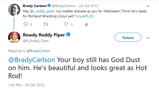 """Roddy Piper: """"Your boy still has God Dust on him. He's beautiful and looks great as Hot Rod!"""""""