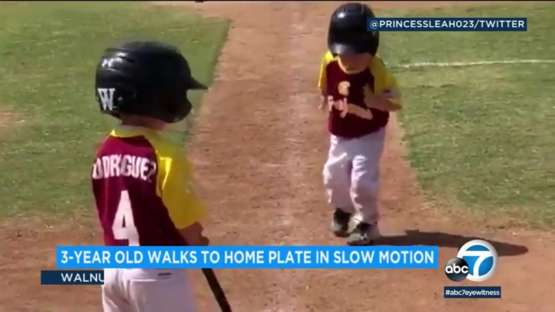 3-Year Old Walks To Home Plate In Slow Motion
