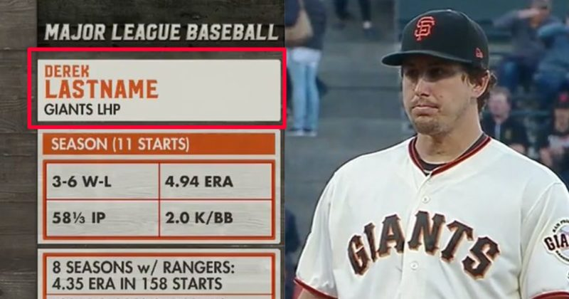 "TV chyron lists Derek Holland as ""Derek Lastname"""