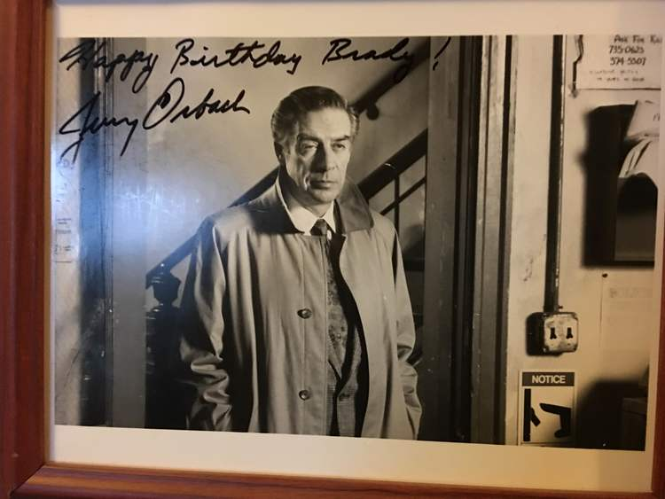 "Autographed picture of Jerry Orbach that says ""Happy Birthday Brady!"""