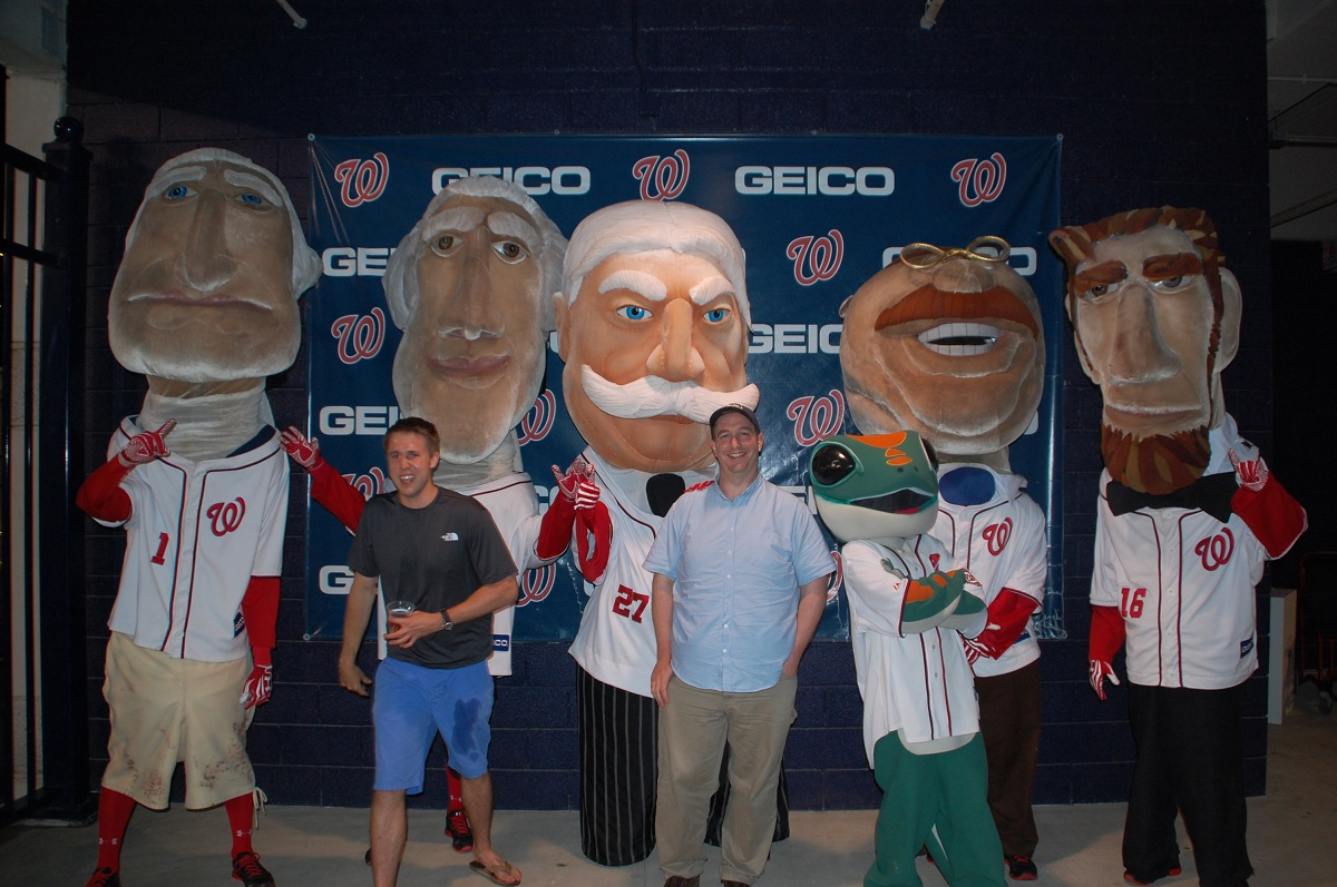 A dude realizes he's just photobombed me and the Racing Presidents