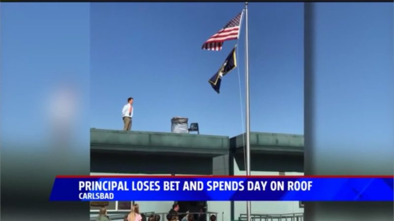 Principal Loses Bet And Spends Day On Roof
