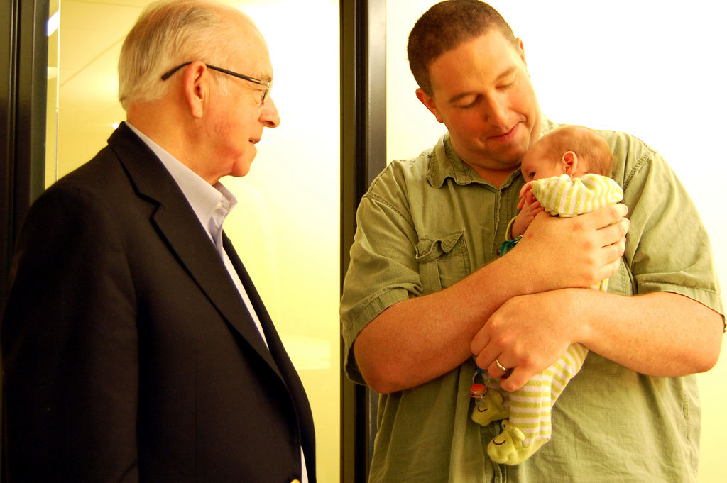 Carl Kasell with Brady and the baby