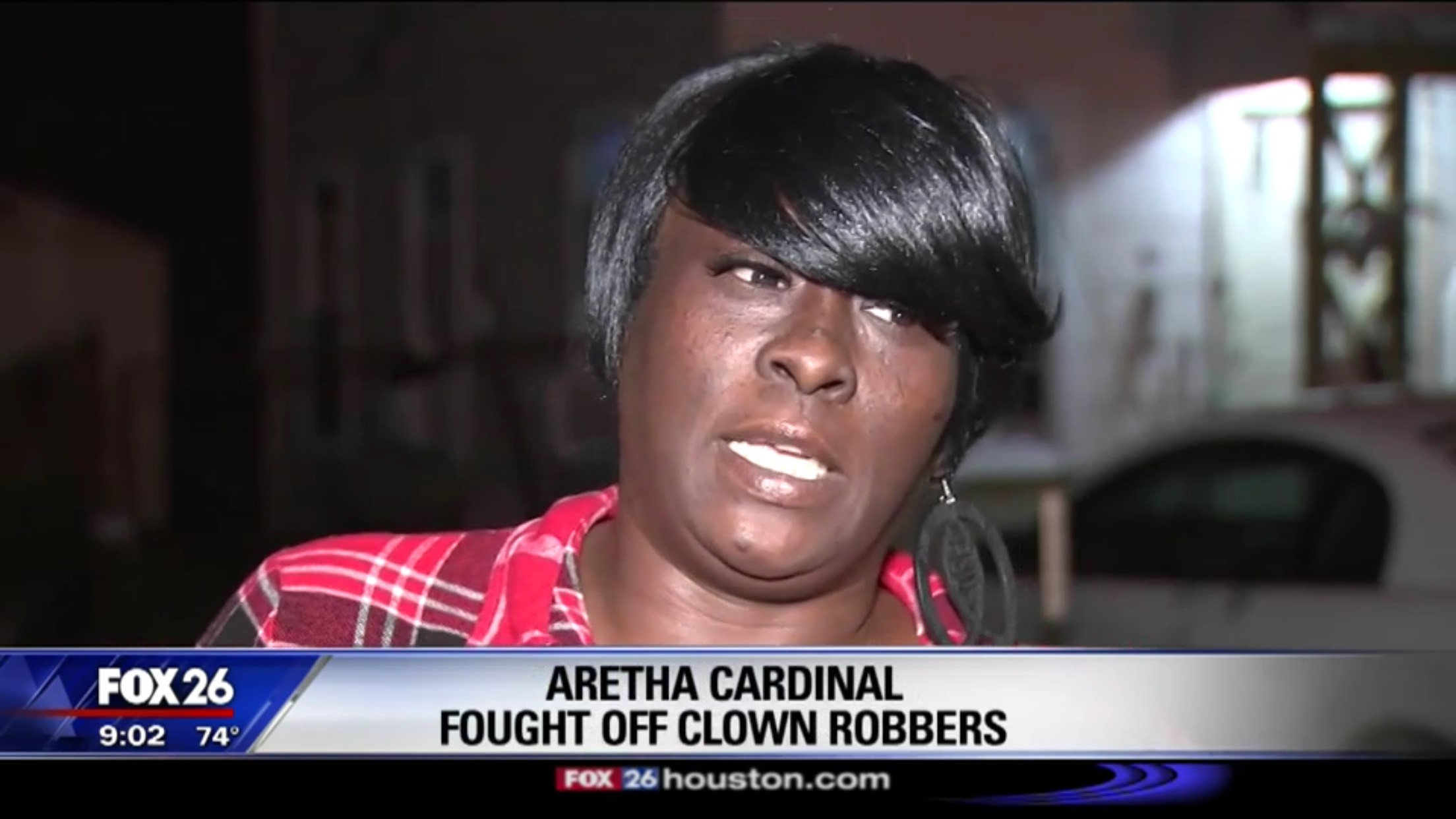 Aretha Cardinal: Fought Off Clown Robbers