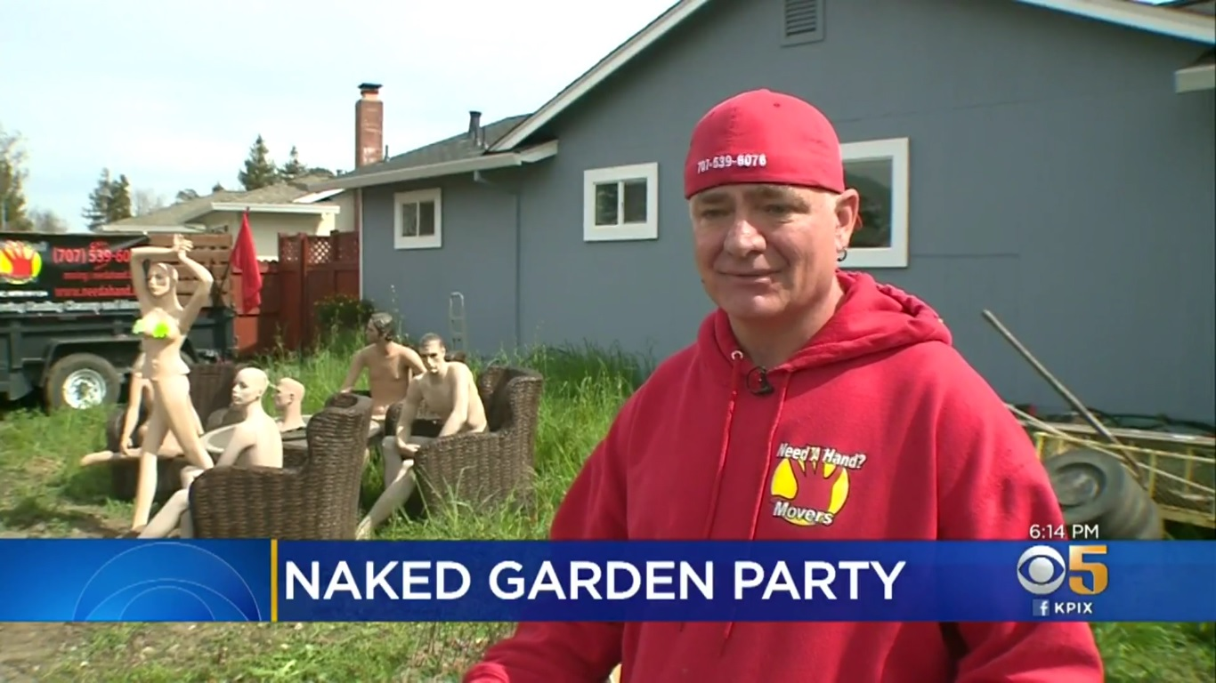 "A dude stands in front of his yard, which is full of unclothed mannequins. Chyron says ""Naked Garden Party"""