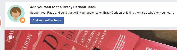 "Facebook suggests: ""Add yourself to the Brady Carlson team"""