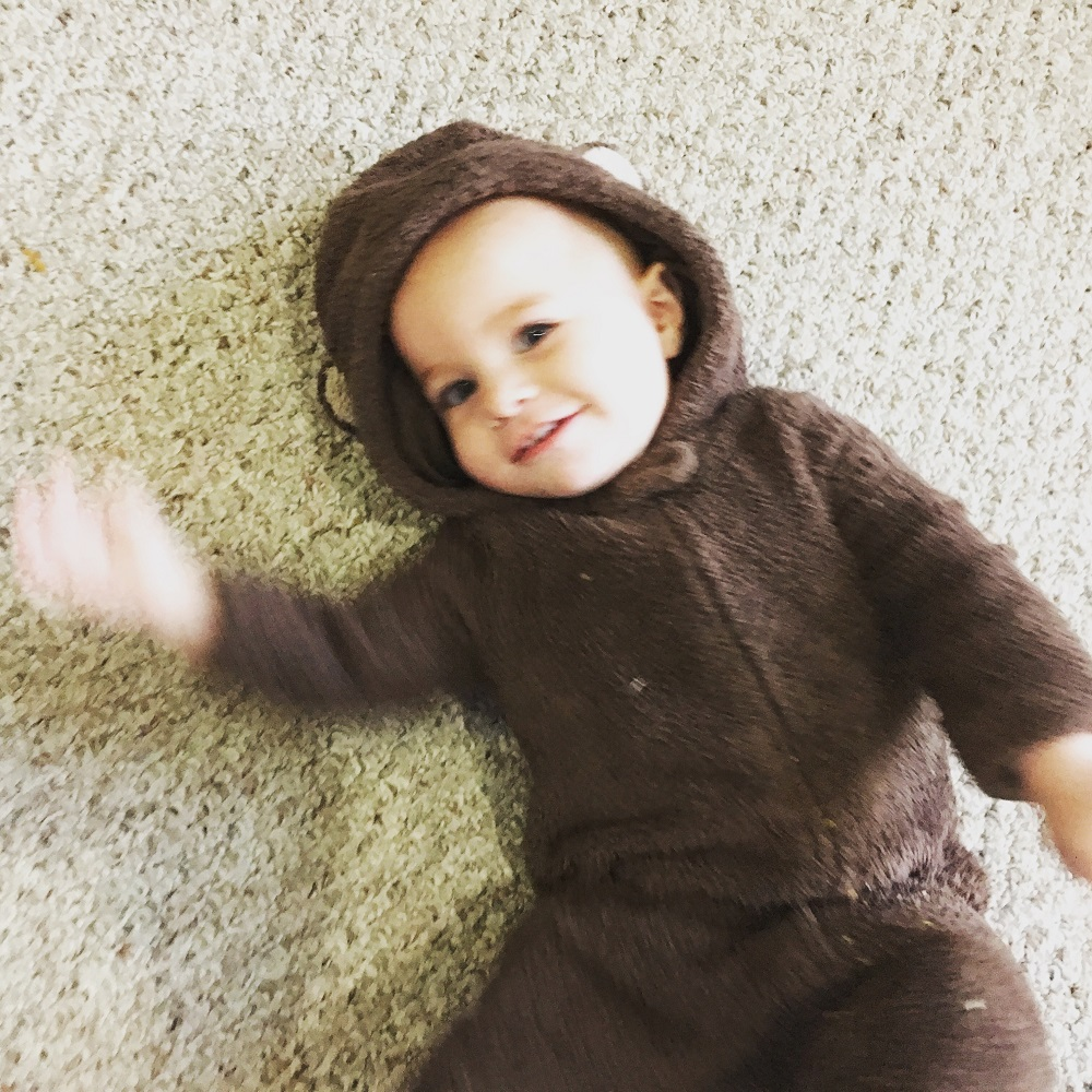 Baby girl in her baby bear costume