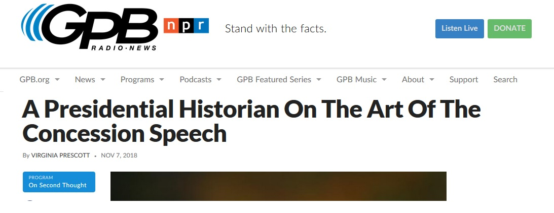 "GPB screenshot: ""A Presidential Historian On The Art Of The Concession Speech"""