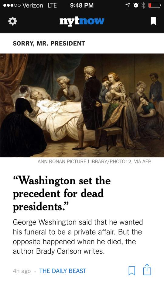 A preview of the DEAD PRESIDENTS excerpt on the NYT Now app