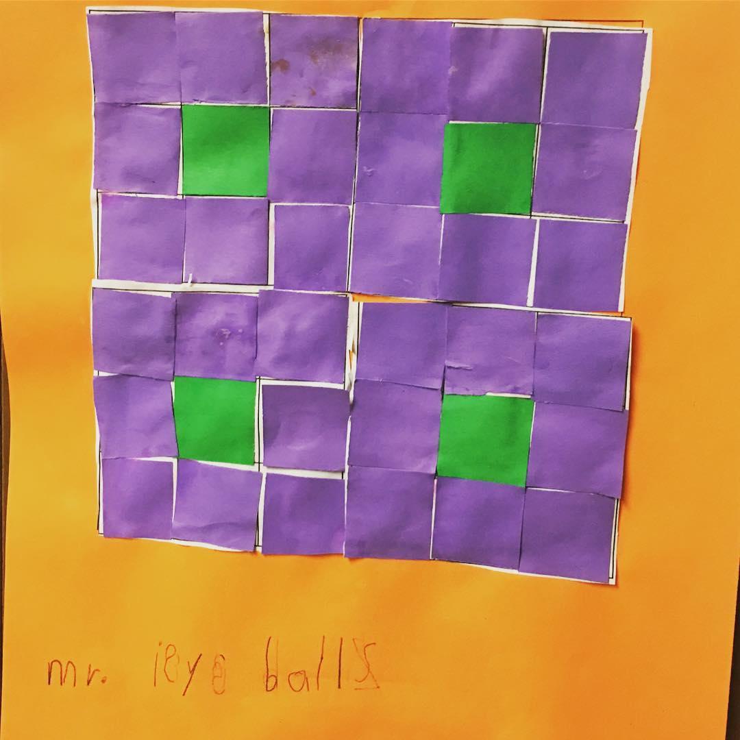 "Orange, purple and green quilt pattern named ""Mr. Eyeballs"""