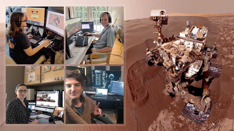 Members of NASA's Curiosity Mars rover mission team photographed themselves on March 20, 2020, the first day the entire mission team worked remotely from home. Credits: NASA/JPL-Caltech