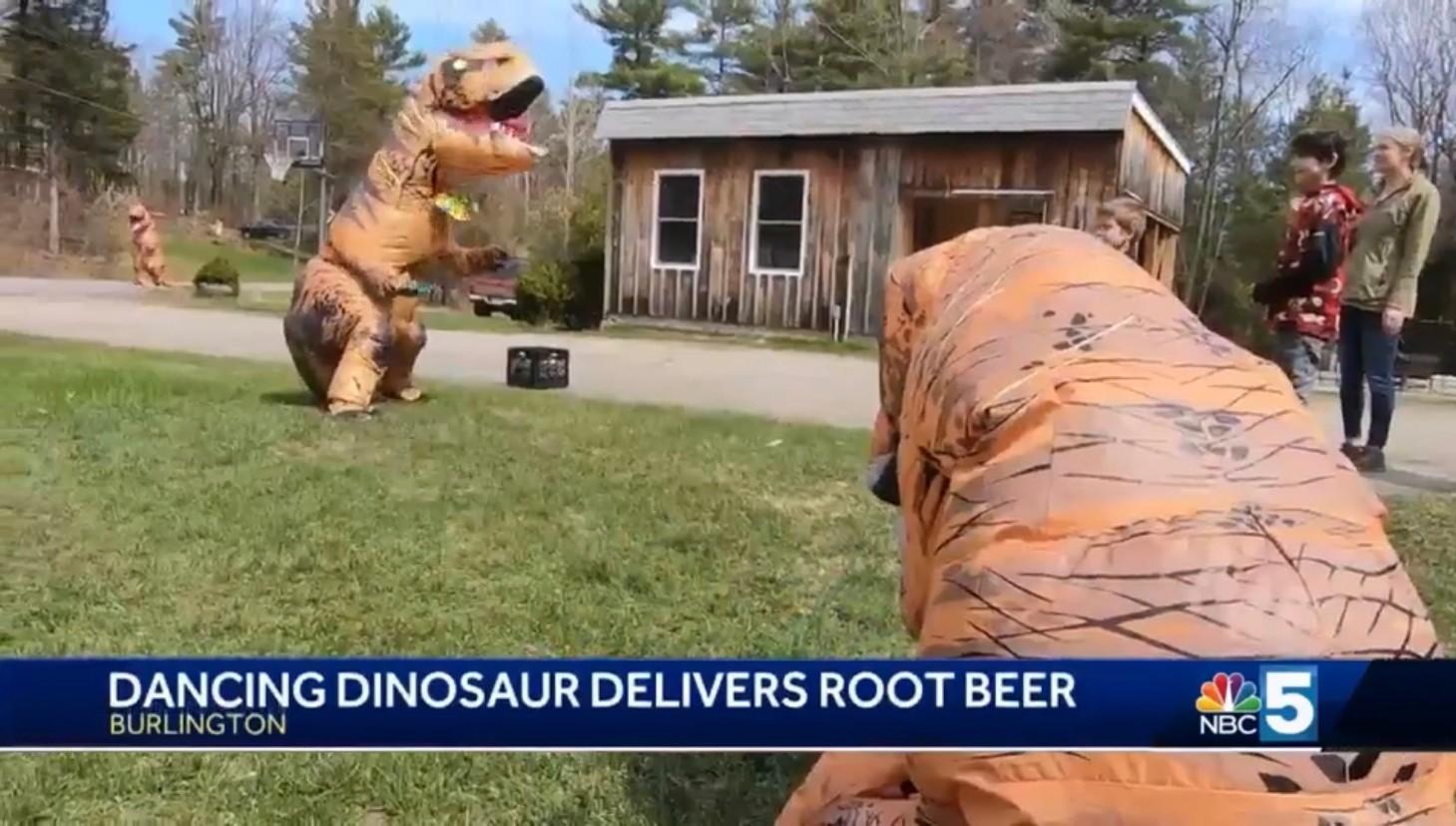 Dancing Dinosaur Delivers Root Beer
