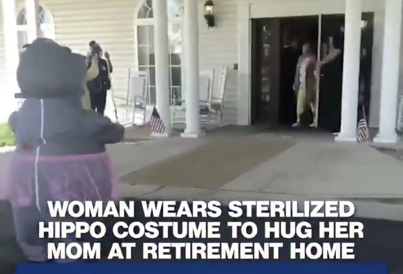 Women Wears Sterilized Hippo Costume To Hug Her Mom At Retirement Home