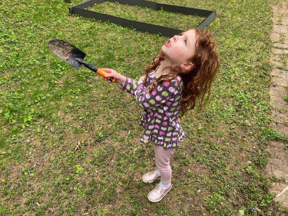 Four year old shakes her shovel