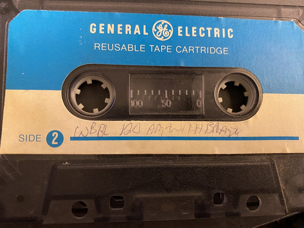 "Cassette tape marked ""WBBL 120 AM with Brady"""