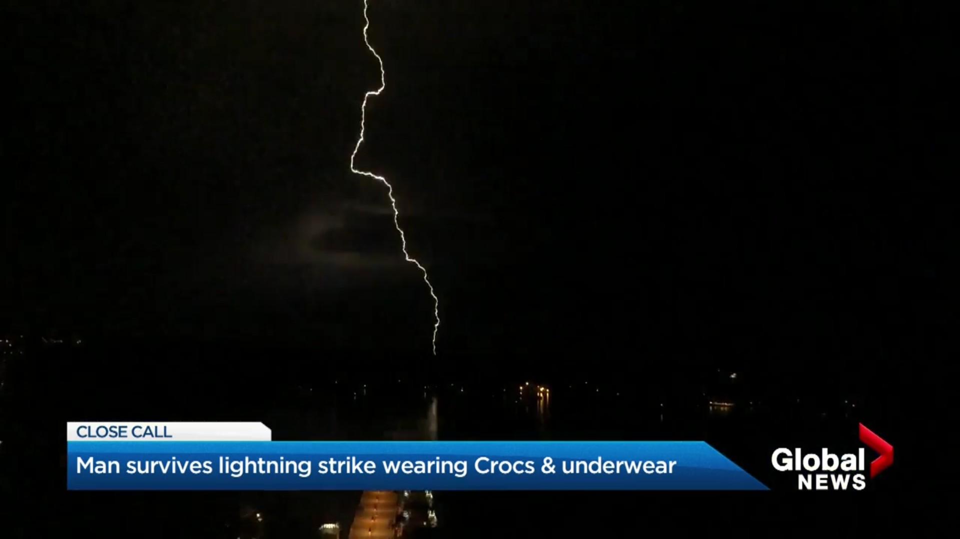 Man survives lightning strike wearing Crocs & underwear
