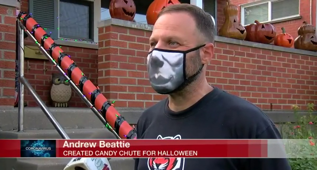 Andrew Beattie: Created Candy Chute For Halloween