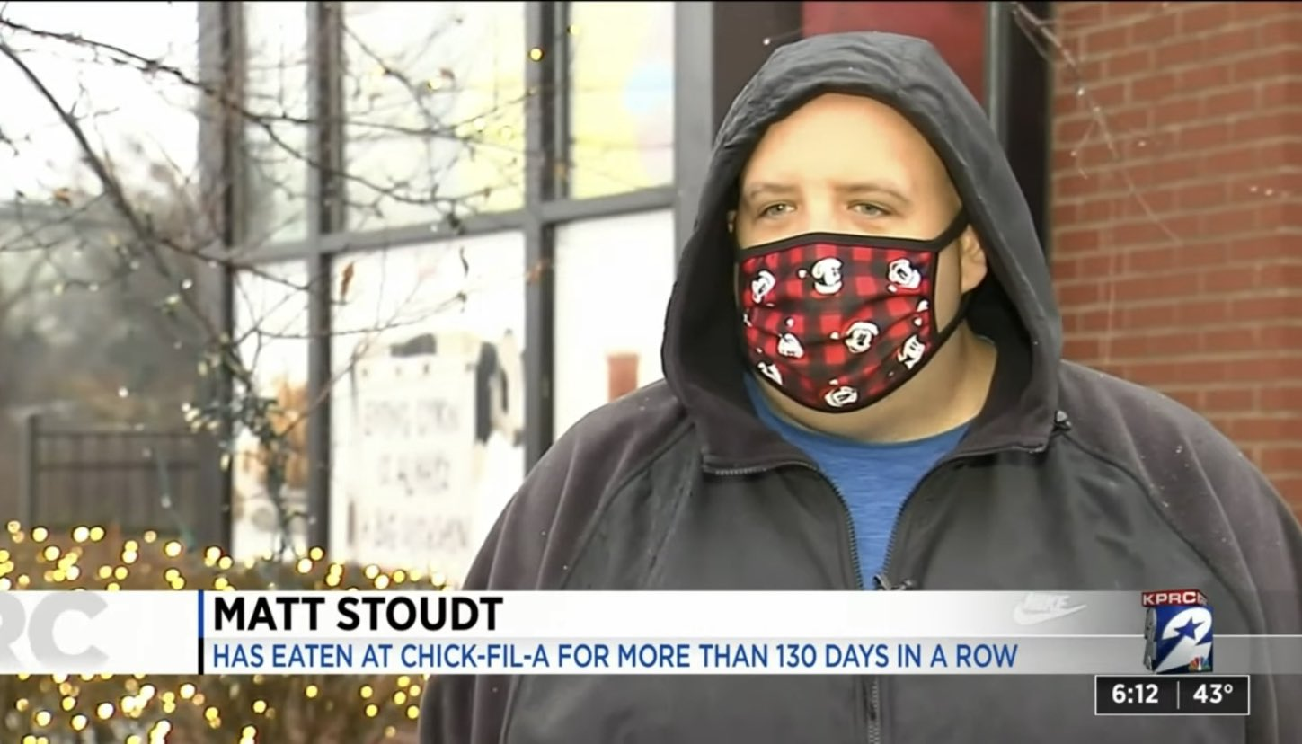 Matt Stoudt: Has Eaten At Chick-Fil-A For More Than 130 Days In A Row